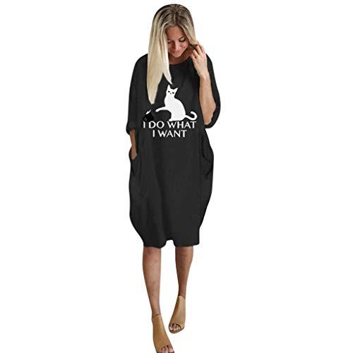 Zylione Damen Groß Kleid Freizeitkleider T-Shirt Kleid Rundhals Knielang Shirt Lose Tunika Brief Drucken Kleid Casual Langes Midikleid mit Tasche Shirts Tunika Bluse Langarm Rundhals
