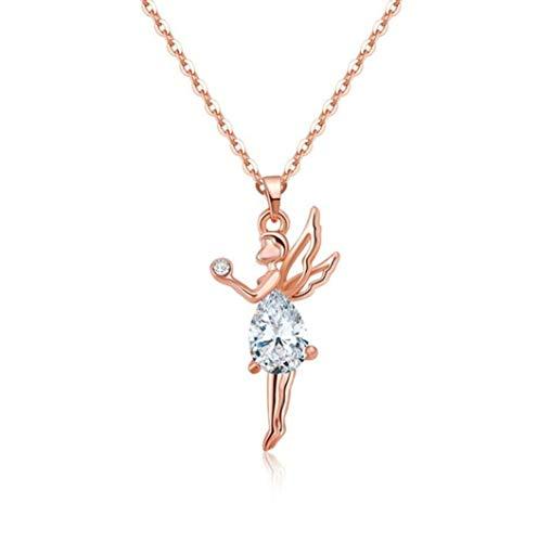Figurita de Hadas y Maravillas – Collar de Hada Rosa Dorada sobre Cristal Blanco Swarovski®