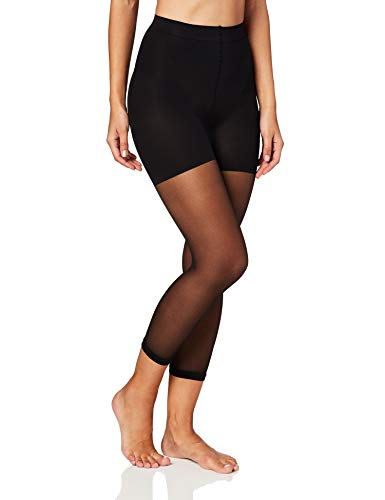 MeMoi Sheer Footless Capri Shaping Tights | Sheer Tights Black MM 226 Large
