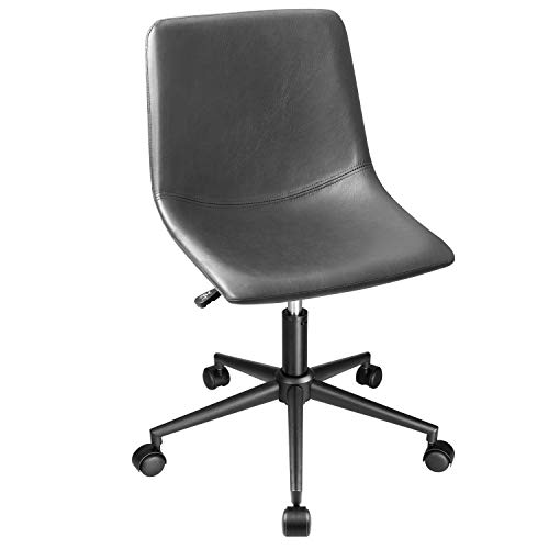 Homall Mid Back Task Chair Brown Leather Computer Office Chair Low Back Adjustable Swivel Vanity Chair Modern Armless Ribbed Conference Chair (Gray)