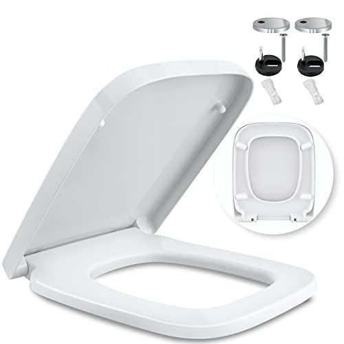 KESSER® WC Sitz mit Absenkautomatik Toilettendeckel Quick-Release-Funktion und Softclose - einfache Montage Klodeckel aus Duroplast Toilettensitz mit Edelstahl Befestigung E-Form