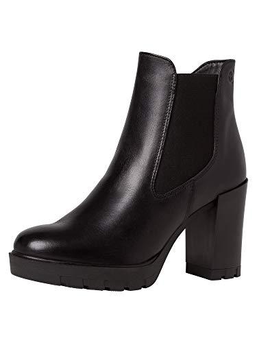 Tamaris Damen Stiefeletten, Frauen Chelsea Boots, Stiefel halbstiefel Bootie Schlupfstiefel hoch weiblich Lady Ladies Women's,Black,40 EU / 6.5 UK