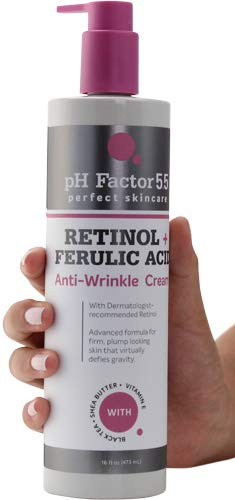 PH Factor 5.5 Retinol Cream for face and body with Ferulic Acid. Anti-Sagging cream Targets Crepey Skin and wrinkles. Anti-Aging Cream with Retinol and Ferulic Acid.15oz bottle (15oz)