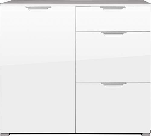 Germania 0267-84 Kommode mit Hochglanz-Fronten und Oberboden GW-Event in Weiß, 96 x 84 x 40 cm (BxHxT)