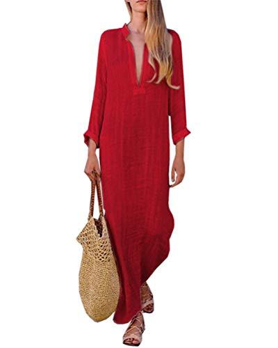 ORANDESIGNE Donna Vestito Lungo Scollo a V Sciolto Maniche 3/4 Retro Lino Lunghi Eleganti Camicetta Casual Asimmetrico Abito da Spiaggia Tinta Unita B Rosso IT 38