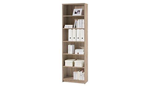 LILLY Regal Sonoma Eiche Optik - Modernes Bücherregal mit 6 offenen Fächern - Vielseitiges Büro Aktenregal Standregal mit viel Stauraum - 60 x 202 x 28 cm (B/H/T)