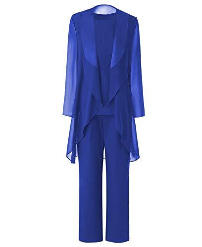 Pretygril Frauen 3 Stück Chiffon Kleid für die Brautmutter Hose mit Schal Jacke(US 16 Plus, Königsblau)