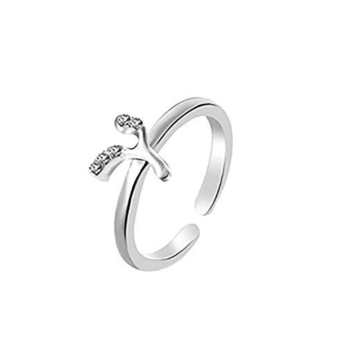 Janly Clearance Sale Anillos para mujer, anillo de letras 26 letras inglesas, diseño de combinación de diamantes, regalo de pareja, conjuntos de joyas, día de San Valentín (Y)