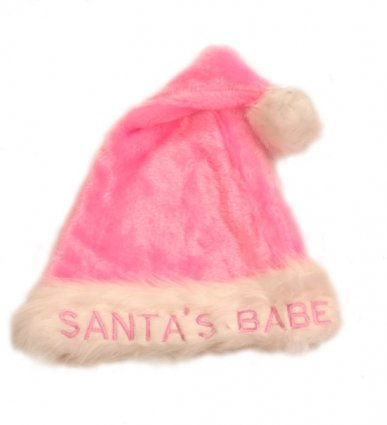 Novelty Hat Father Christmas Santa'S Babe (Pink Plush) for Fancy Dress Party Accessory by Christmas