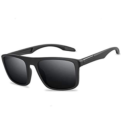 XMYNB Occhiali da Sole Occhiali da Sole Polarizzati Moda Uomo Uv400 Rettangolare Ultra Light Sun Glasses Pesca per La Guida All'Aperto-Matte Black,Polarized Sunglasses