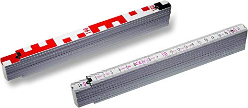 Holz- Gliedermaßstab 1407 weiss 2m | STABILA | metrische Skala & Geo-Skalierung | Nivellier-maßstab | 2 m Latte Gutachter-Ausrüstung | Wertgutachten | Fotodokumentation | Nivellierzollstock