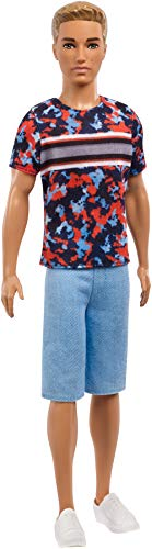 Barbie FXL65 Ken Fashionistas Doll Wearing, Colourful Camo top