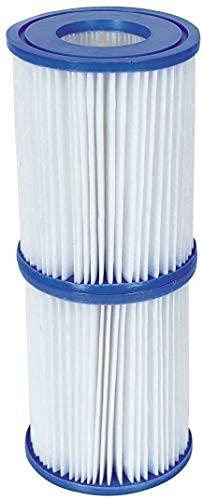 BESTWAY 58094 - Set de Dos Filtros de Agua Tipo II para Depuradora de Cartucho de 2.006 y 3.028 litros/hora para Bombas de 220-240 V Ø10,6x13,6 cm Fácil de limpiar