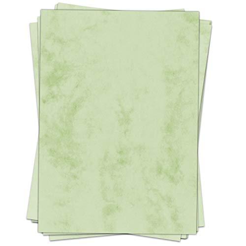 50 Blatt im Set: Briefpapier Marmor grün - edel - Papier DIN A4 - beidseitig marmoriert