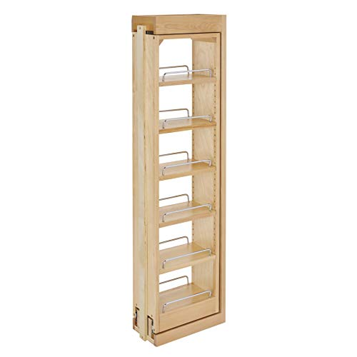 Rev-A-Shelf 432-WF42-6C 6 x 42 Inch Wooden Adjustable Pull-Out Between Cabinet Wall Filler Kitchen Storage Organizer Unit
