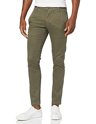 Marca Amazon - find. Pantalones Chino Skinny Hombre, Verde (Green), 30W / 32L, Label: 30W / 32L
