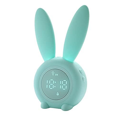 Reloj Despertador Digital LED con Oreja de Conejo Bonito, Control de Sonido USB electrónico, lámpara de Noche de Conejo, Reloj de Escritorio, decoración del hogar