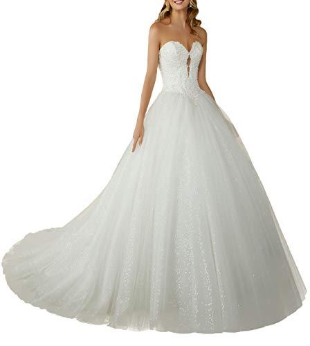 JAEDEN Abiti da Sposa Lungo Principessa Vestito da Sposa con Un Lungo Treno Donna Pizzo Tulle Senza Spalline Bianco EUR40