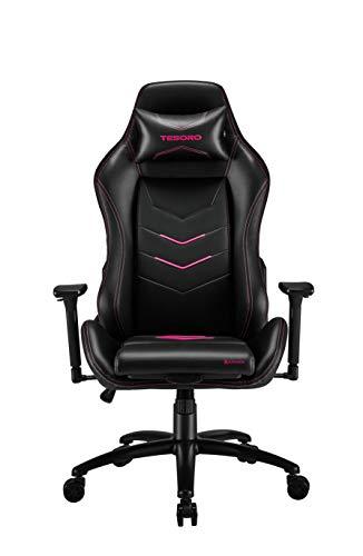 Tesoro Alphaeon S3 Gaming Stuhl F720 Gaming Chair Chefsessel Schreibtischstuhl mit PU Kunstleder, Lordosenstütze und Seat Xtension Sitzflächenerweiterung Pink