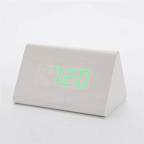 MingXinJia Relojes de Cabecera para el Hogar Reloj Despertador Reloj Despertador de Madera Relojes Digitales de Escritorio Control de Sonido Reloj Led de Madera Temperatura Decoración Del Hogar Reloj