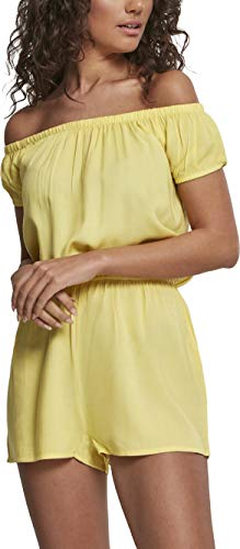 Urban Classics Damen Ladies Off Shoulder Short Jumpsuit, Gelb (Bright-Yellow 01684), XXX-Large (Herstellergröße: 3XL)