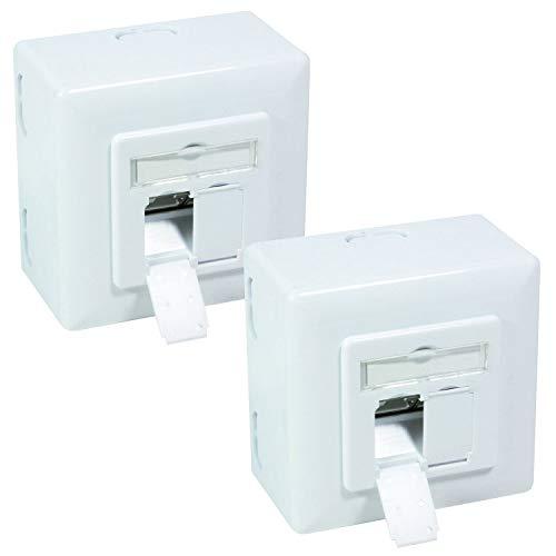 BIGtec 2 x Netzwerkdose CAT6a LAN Dose universal Aufputzdose Unterputzdose Kabelkanal für Verlegekabel Netzwerkkabel Kabel CAT 7 CAT 6 CAT 5 CAT 6a, 2 x RJ45 Buchse Signalweiß Aufputz Unterputz