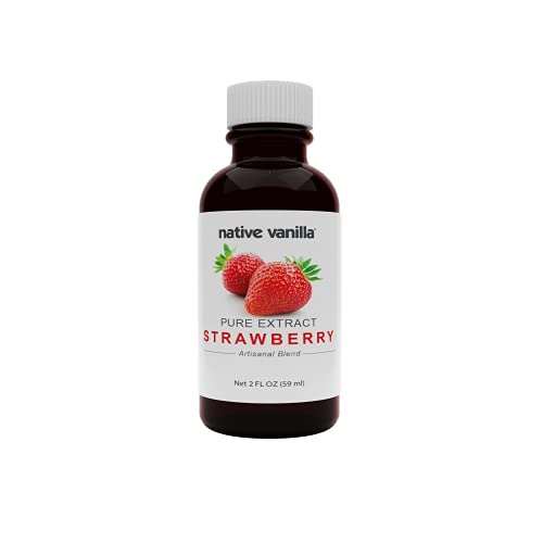 Native Vanilla - Pure Strawberry Extract - 2 oz - Perfect for Cooking, Baking, and Dessert Crafting