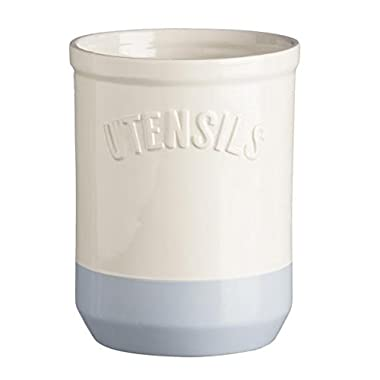 Mason Cash Bakewell Stoneware Utensil Jar, 40-1/2-Fluid Ounces, Cream, Blue