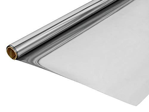 GARDINIA Statische Spiegelfolie, Sicht- und Sonnenschutz, UV-Schutz, Blickdicht, 100% PVC, 90 x 200 cm, Silber