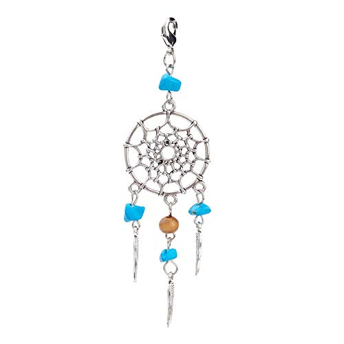 NBEADS 30 Pcs Alloy Dream Catcher Dreamcatcher Charms Pendants with Feathers Tassels Synthetic Turquoise Beads for Jewellery Making