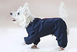 PU coated nylon Dog suit with legs maximum protection from the elements Waterproof light wieght, Keep your pet clean and dry Three Colours Red, Navy, Black. Please note sizes are generous so if in between sizes we would recommend the smaller size. Me...