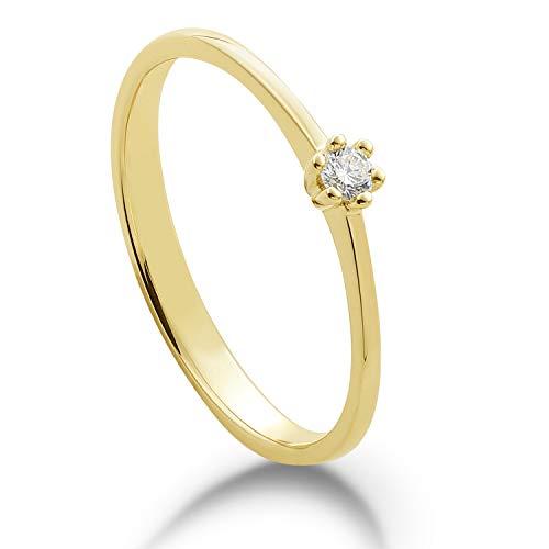 Anillo de compromiso | Anillo de diamante | Solitario con 6 garras | oro amarillo 585 o 585 | 0,05 ct | Engarce con corazón | Tamaño 50 – 55 | MIRINGOO (14 quilates (585) oro amarillo 50 (15,9)