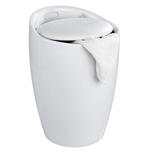 WENKO Badhocker Candy Weiß, Hocker mit Stauraum für das Badezimmer und Wohnzimmer, integrierter Wäschesammler, ABS-Kunststoff, Fassungsvermögen 20 L, Ø 36 x 50,5 cm