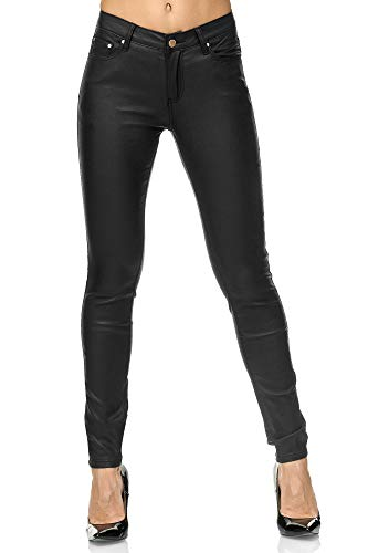 Elara Pantalones de Mujer Polipiel Push Up Chunkyrayan E621 Black-38 (M)