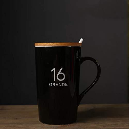 Taza de café personalizada con tapa y cuchara - Agregue imágenes, logotipo o texto a la taza de té personalizada 16 oz 12 oz 8 oz, juego de 3 (Black-16oz)