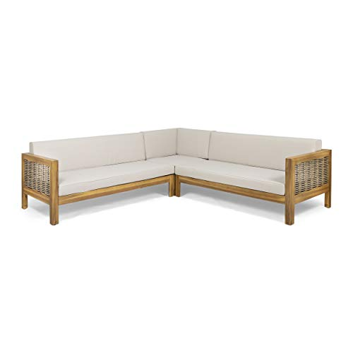 Theresa Outdoor Wood and Wicker 5 Seater Sectional Sofa Set, Teak and Beige