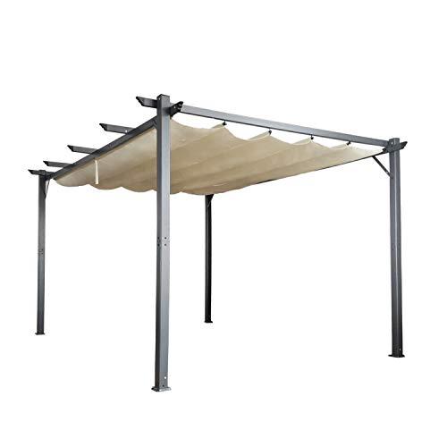 Cloud Mountain Patio Pergola 10 x 13 Flat Hanging KD Tent Retractable Gazebo for Outdoor Garden or Deck, Beige