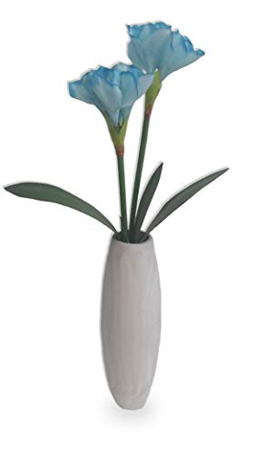 Amarílis Azul De Luxo Arranjo Flor Artificial Vaso Branco Cinza