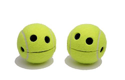 Pigallume Notizhalter - 2er Set also im Doppelpack - Smile Happy Tennisball mit hochwertigem Saugnapf jeweils in 2 transparenten Geschenkboxen Tennis WILSON Originalprofiball Geschenkidee Aufbewahrung