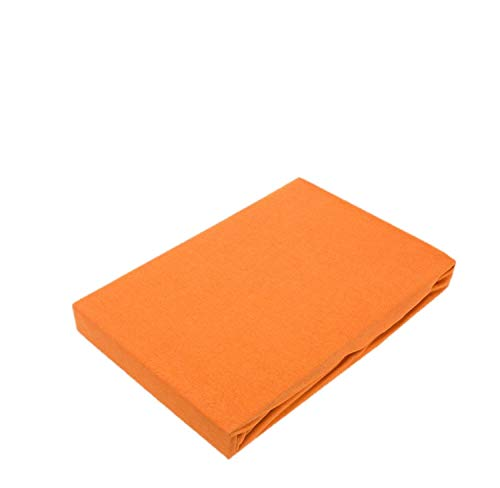 EXKLUSIV HEIMTEXTIL - Sábana Bajera Ajustable con Dobladillo elástico, naranja, 120 x 200 cm
