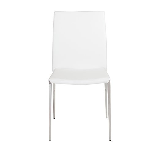 Euro Style Diana Soft Leatherette Stacking Side Chair with Stainless Steel Frame, White, Set of 4