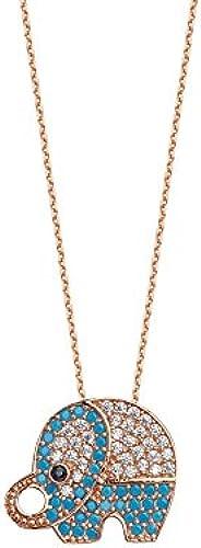 14  Rosa Gold verstellbar Zirkonia Nano Simuliert Türkis Elefant Halskette 46cm