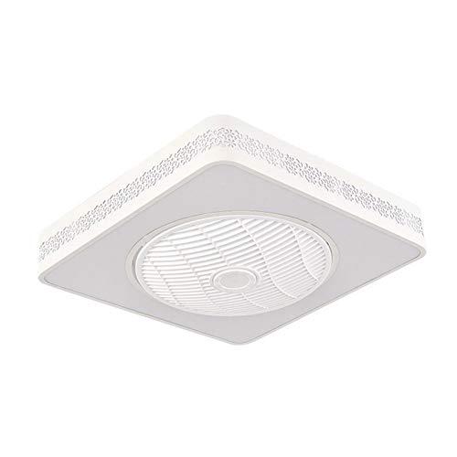 DULG Ventilador de techo cuadrado tranquilo con luz LED Luces de techo Ajustable 3 velocidad de viento regulable con control remoto Moderno para dormitorio Sala de estar Comedor Sala de comedor Luz de