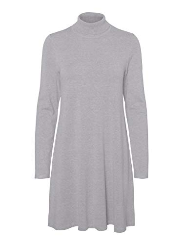 VERO MODA Damen Kleid Rollkragen MLight Grey Melange