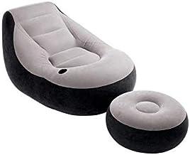 أريكة أريكة واحدة قابلة للنفخ بطباعة رمادية إنتكس مصنوعة من القماش الكتاني