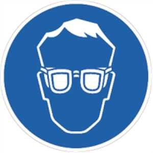 Schild Augenschutz benutzen gemäß ASR A1.3 / BGV A8, PVC 20 cm Ø (Gebotsschild, Schutzbrille) wetterfest