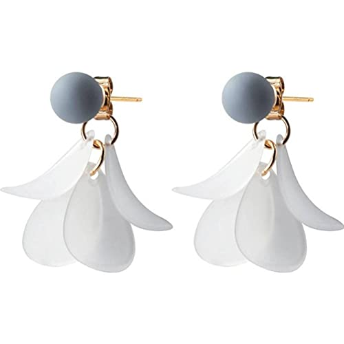 Good dress Pendientes de plata S925 para mujer de moda gris pequeña bola pendientes de pétalo blanco dorado, plata 925