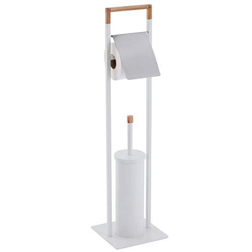 Spirella Bad Serie Natura Stand WC Garnitur aus Edelstahl mit herausnehmbaren Innenbehälter für die WC Bürste Weiß Bambus