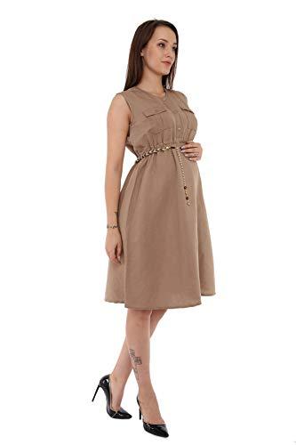 M.M.C. Lässiges Umstands-Kleid aus Leinen - Damen Geknöpftes Stillkleid Umstansmode Freizeitkleid Schwangerschaftskleid für den Alltag Ärmellos (Beige, L)