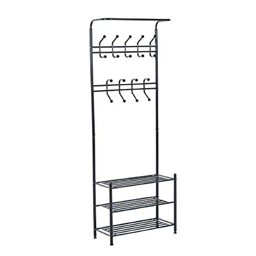 Belleashy Perchero con marco de metal de 18 ganchos para colgar abrigos con 3 niveles de almacenamiento de zapatos, color negro para bolsa de ropa, sombrero (tamaño: 67 x 30 x 185 cm, color: negro)